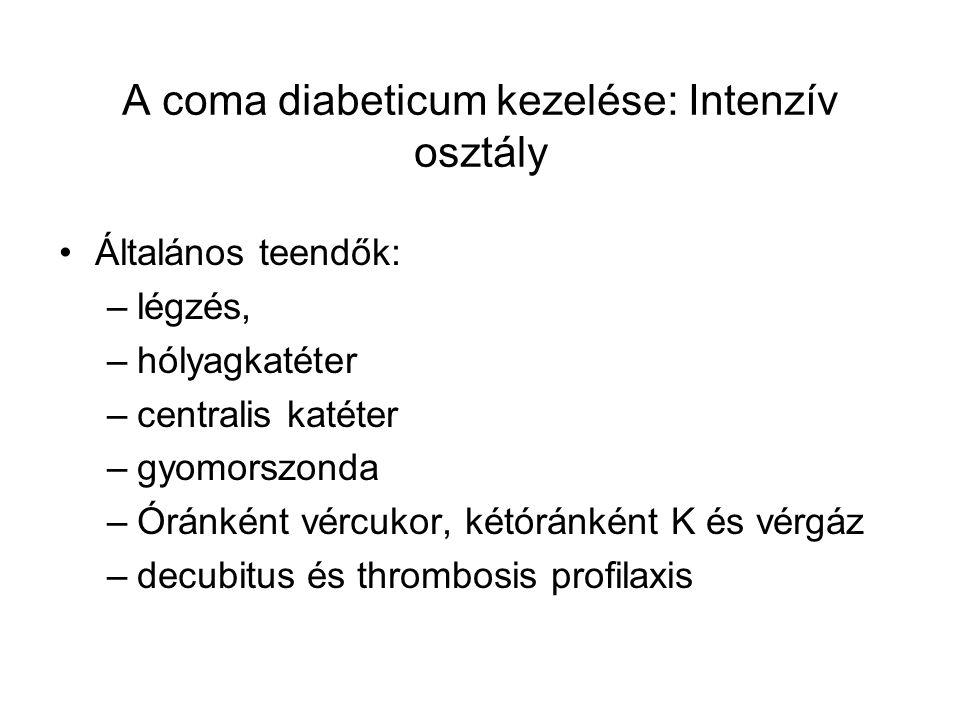 A coma diabeticum kezelése: Intenzív osztály Általános teendők: –légzés, –hólyagkatéter –centralis katéter –gyomorszonda –Óránként vércukor, kétóránké