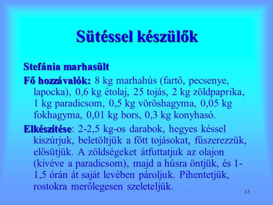 13 Sütéssel készülők Stefánia marhasült Fő hozzávalók: Fő hozzávalók: 8 kg marhahús (fartő, pecsenye, lapocka), 0,6 kg étolaj, 25 tojás, 2 kg zöldpapr