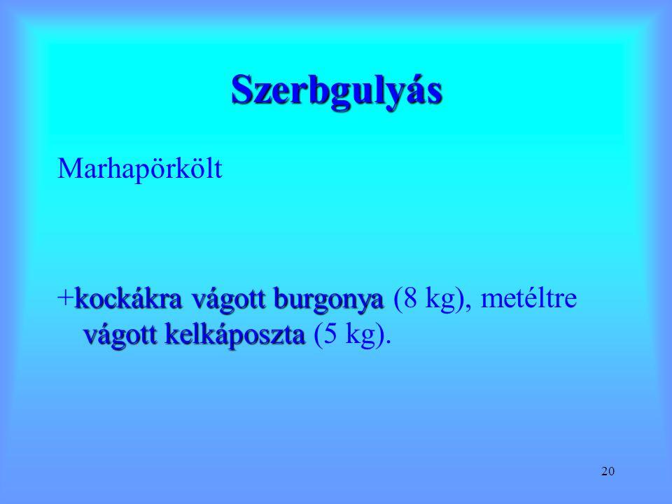 20 Szerbgulyás Marhapörkölt kockákra vágott burgonya vágott kelkáposzta +kockákra vágott burgonya (8 kg), metéltre vágott kelkáposzta (5 kg).