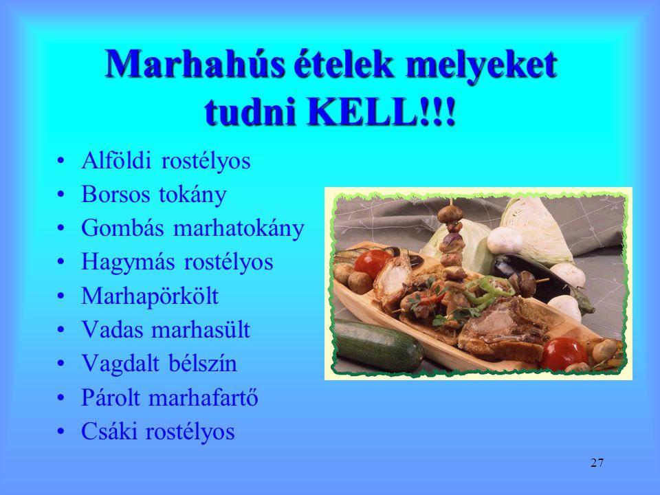 27 Marhahús ételek melyeket tudni KELL!!! Alföldi rostélyos Borsos tokány Gombás marhatokány Hagymás rostélyos Marhapörkölt Vadas marhasült Vagdalt bé
