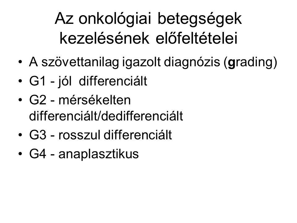 Az onkológiai betegségek kezelésének előfeltételei A szövettanilag igazolt diagnózis (grading) G1 - jól differenciált G2 - mérsékelten differenciált/dedifferenciált G3 - rosszul differenciált G4 - anaplasztikus