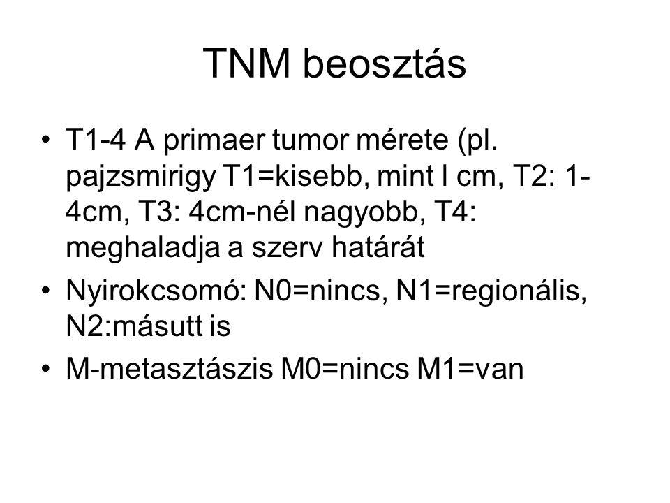 TNM beosztás T1-4 A primaer tumor mérete (pl. pajzsmirigy T1=kisebb, mint l cm, T2: 1- 4cm, T3: 4cm-nél nagyobb, T4: meghaladja a szerv határát Nyirok