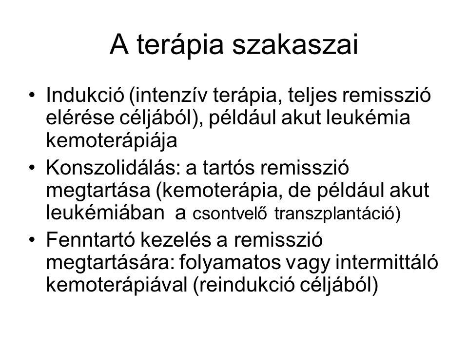 A terápia szakaszai Indukció (intenzív terápia, teljes remisszió elérése céljából), például akut leukémia kemoterápiája Konszolidálás: a tartós remisszió megtartása (kemoterápia, de például akut leukémiában a csontvelő transzplantáció) Fenntartó kezelés a remisszió megtartására: folyamatos vagy intermittáló kemoterápiával (reindukció céljából)
