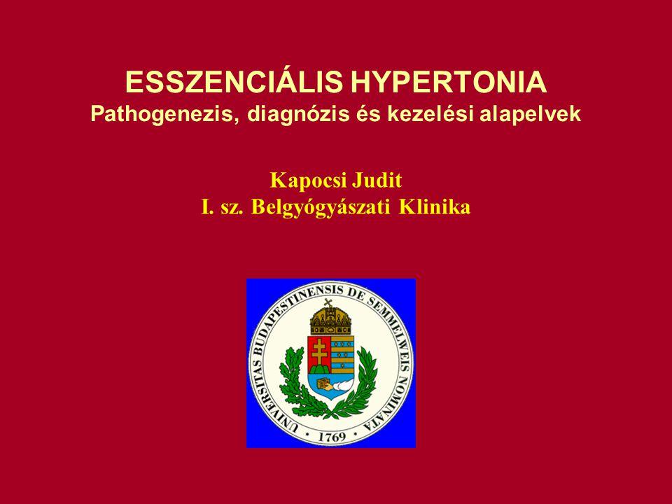 TERÁPIÁS elvek változása a hipertónia kezelése során Nincs mit tenni Kezelés szükséges Lépcsőzetes terápia Elsővonalbeli szerek Integrált ellátás szükséges Individualizált kezelés