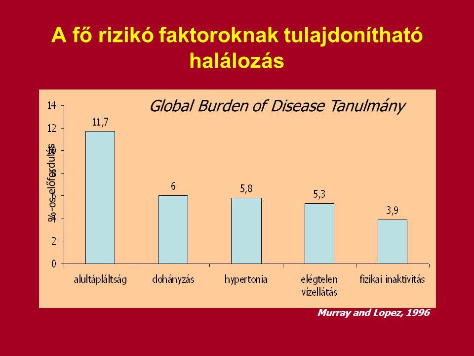 A fő rizikó faktoroknak tulajdonítható halálozás %-os előfordulás Global Burden of Disease Tanulmány Murray and Lopez, 1996