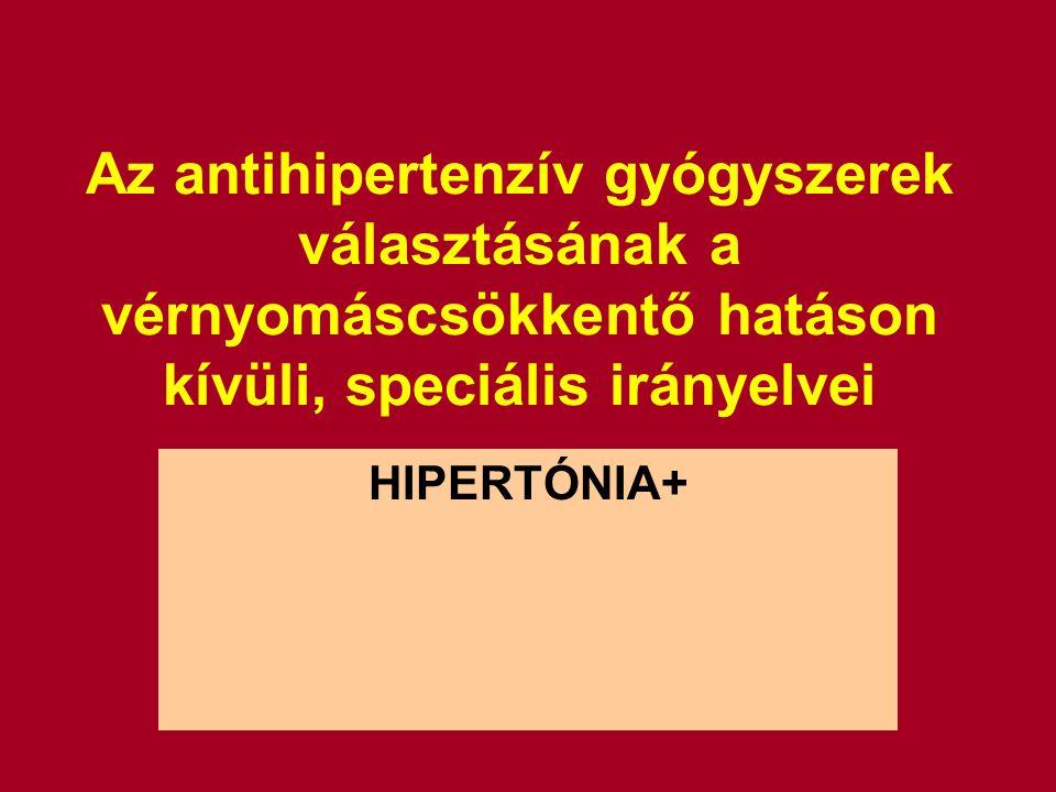 Az antihipertenzív gyógyszerek választásának a vérnyomáscsökkentő hatáson kívüli, speciális irányelvei HIPERTÓNIA+