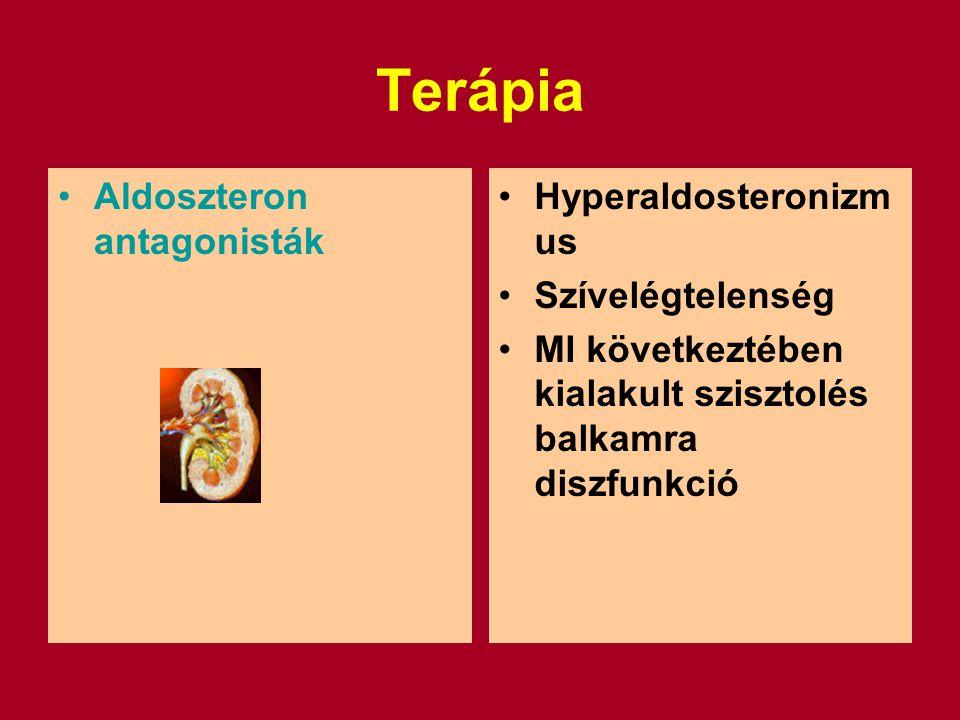 Terápia Aldoszteron antagonisták Hyperaldosteronizm us Szívelégtelenség MI következtében kialakult szisztolés balkamra diszfunkció
