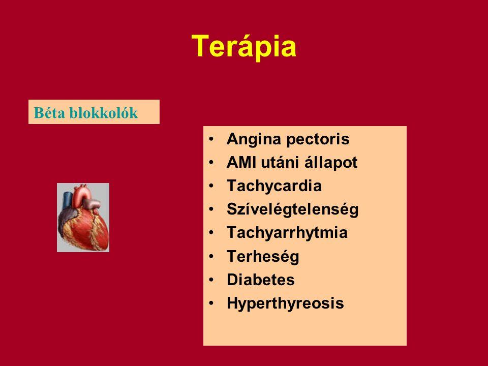 Terápia Angina pectoris AMI utáni állapot Tachycardia Szívelégtelenség Tachyarrhytmia Terheség Diabetes Hyperthyreosis Béta blokkolók