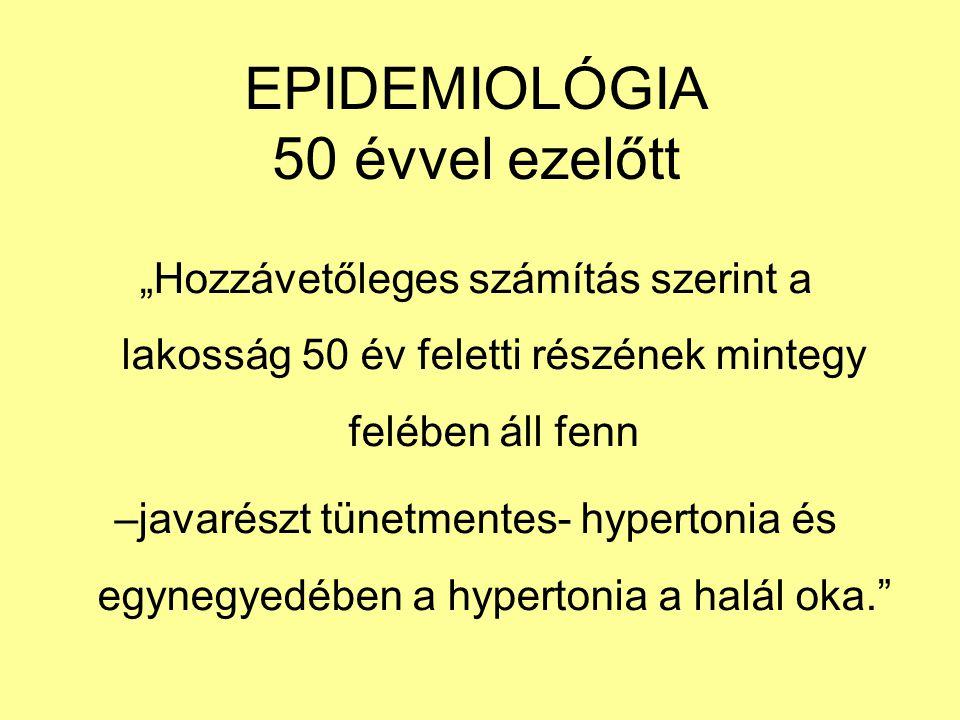 """EPIDEMIOLÓGIA 50 évvel ezelőtt """"Hozzávetőleges számítás szerint a lakosság 50 év feletti részének mintegy felében áll fenn –javarészt tünetmentes- hypertonia és egynegyedében a hypertonia a halál oka."""