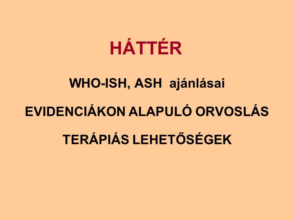 HÁTTÉR WHO-ISH, ASH ajánlásai EVIDENCIÁKON ALAPULÓ ORVOSLÁS TERÁPIÁS LEHETŐSÉGEK