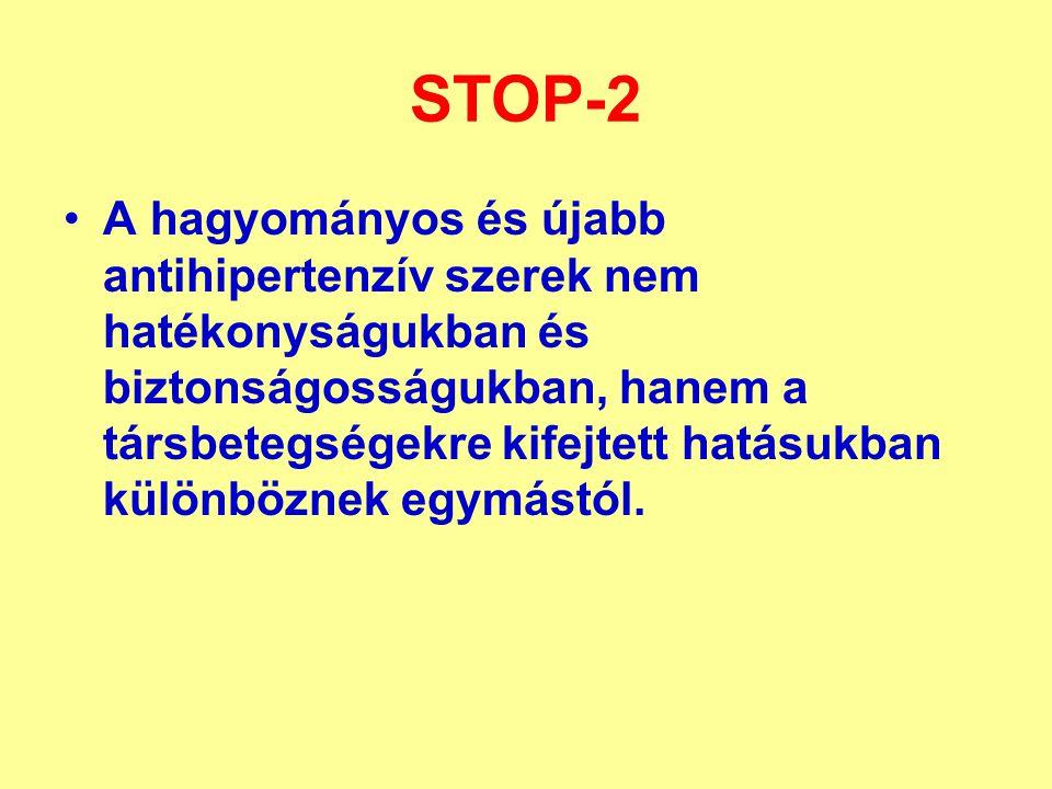 STOP-2 A hagyományos és újabb antihipertenzív szerek nem hatékonyságukban és biztonságosságukban, hanem a társbetegségekre kifejtett hatásukban különböznek egymástól.