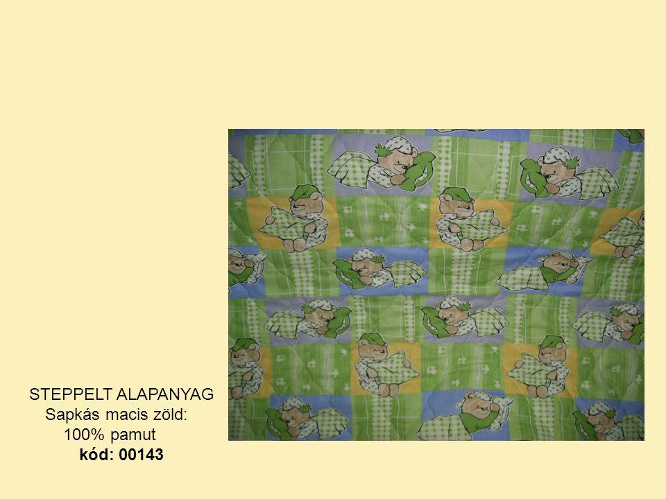 STEPPELT ALAPANYAG Sapkás macis zöld: 100% pamut kód: 00143