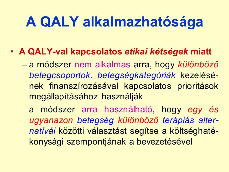 A QALY alkalmazhatósága A QALY-val kapcsolatos etikai kétségek miatt –a módszer nem alkalmas arra, hogy különböző betegcsoportok, betegségkategóriák k
