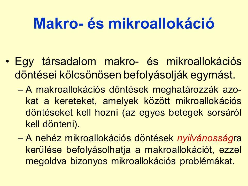 Makro- és mikroallokáció Egy társadalom makro- és mikroallokációs döntései kölcsönösen befolyásolják egymást. –A makroallokációs döntések meghatározzá
