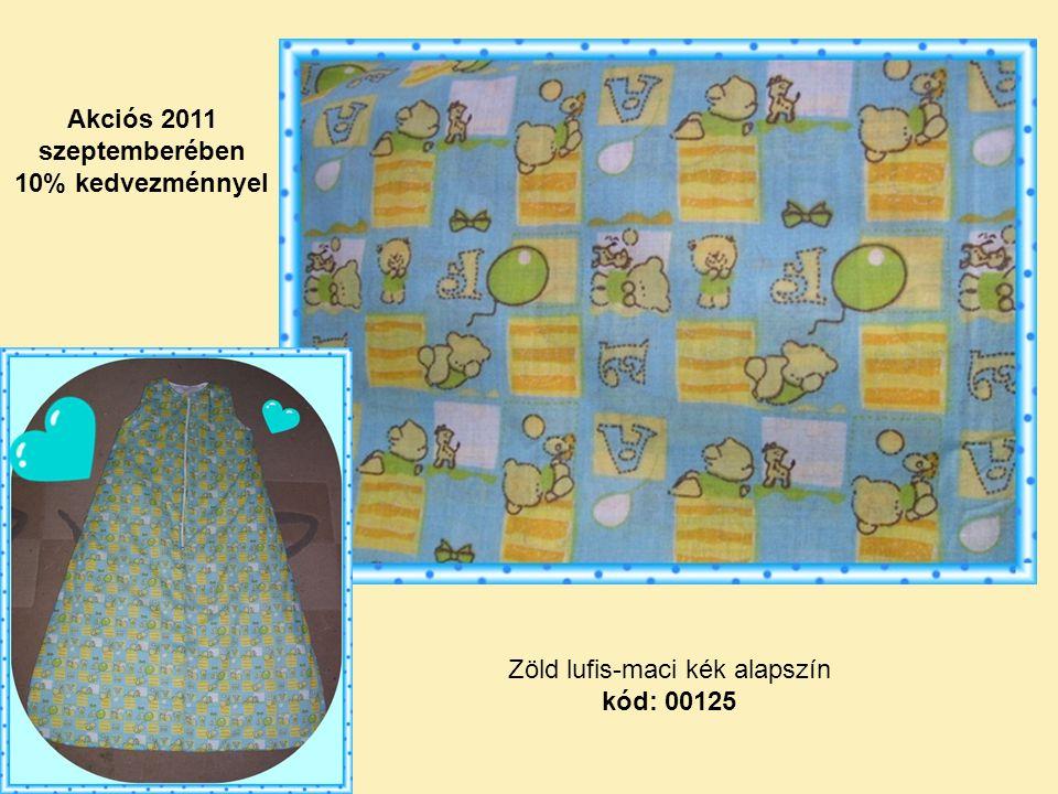 Zöld lufis-maci kék alapszín kód: 00125 Akciós 2011 szeptemberében 10% kedvezménnyel