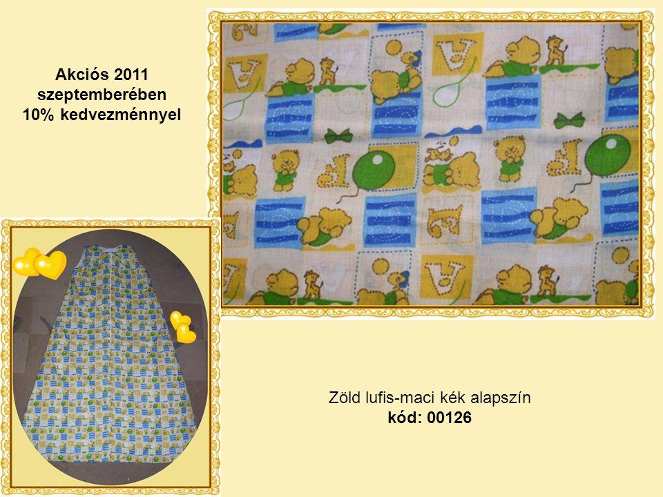 Zöld lufis-maci kék alapszín kód: 00126 Akciós 2011 szeptemberében 10% kedvezménnyel