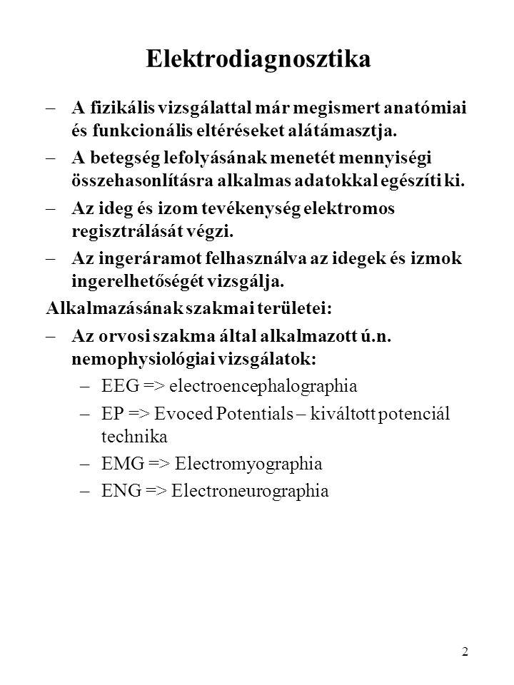 3 Elektrodiagnosztika –A gyógytornász/fizioterápeuta szakma által alkalmazott vizsgálatok: –Alacsony és középfrekvenciájú áramokkal végzett indirekt ingerlési tesztek: A motoros perifériás ideg ingerelhetőségének vizsgálata, annak kiderítésére, hogy az elektromos inger továbbítására képes-e az ideg az általa ellátott izmokba.