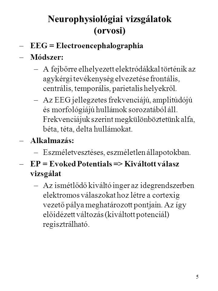 5 Neurophysiológiai vizsgálatok (orvosi) –EEG = Electroencephalographia –Módszer: –A fejbőrre elhelyezett elektródákkal történik az agykérgi tevékenys