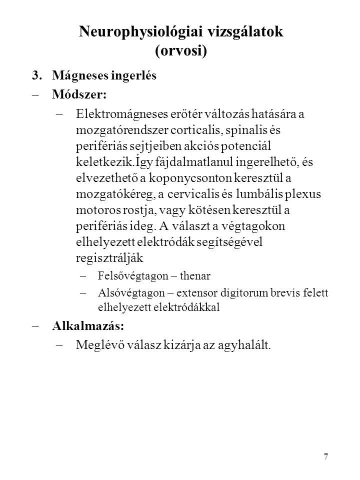 7 Neurophysiológiai vizsgálatok (orvosi) 3.Mágneses ingerlés –Módszer: –Elektromágneses erőtér változás hatására a mozgatórendszer corticalis, spinali