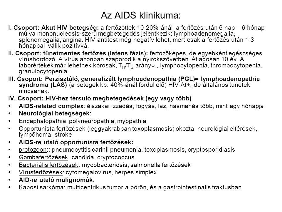 Az AIDS klinikuma: I. Csoport: Akut HIV betegség: a fertőzöttek 10-20%-ánál a fertőzés után 6 nap – 6 hónap múlva mononucleosis-szerű megbetegedés jel
