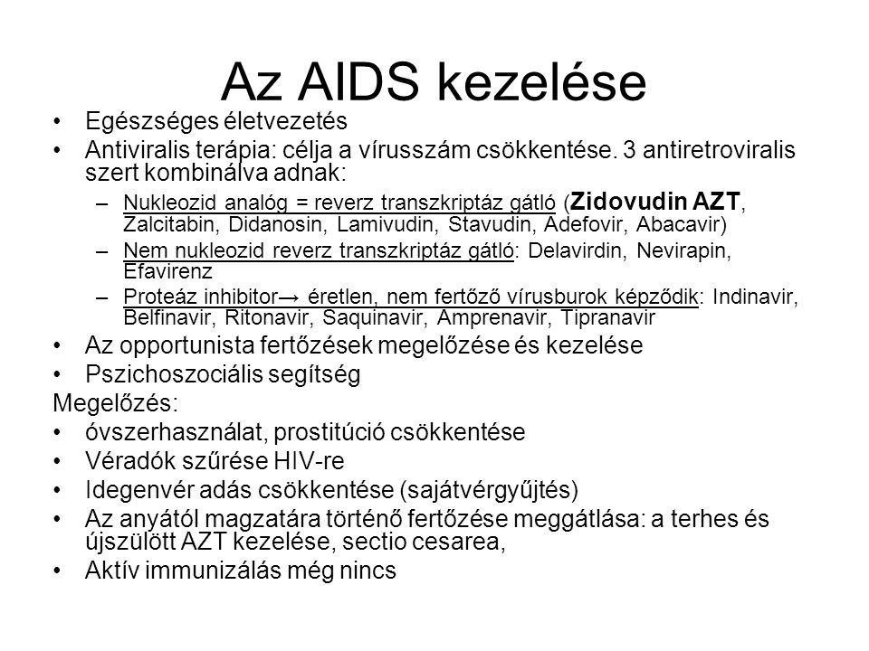 Az AIDS kezelése Egészséges életvezetés Antiviralis terápia: célja a vírusszám csökkentése. 3 antiretroviralis szert kombinálva adnak: –Nukleozid anal