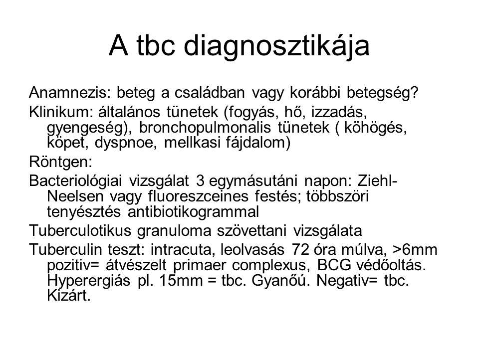A tbc diagnosztikája Anamnezis: beteg a családban vagy korábbi betegség? Klinikum: általános tünetek (fogyás, hő, izzadás, gyengeség), bronchopulmonal