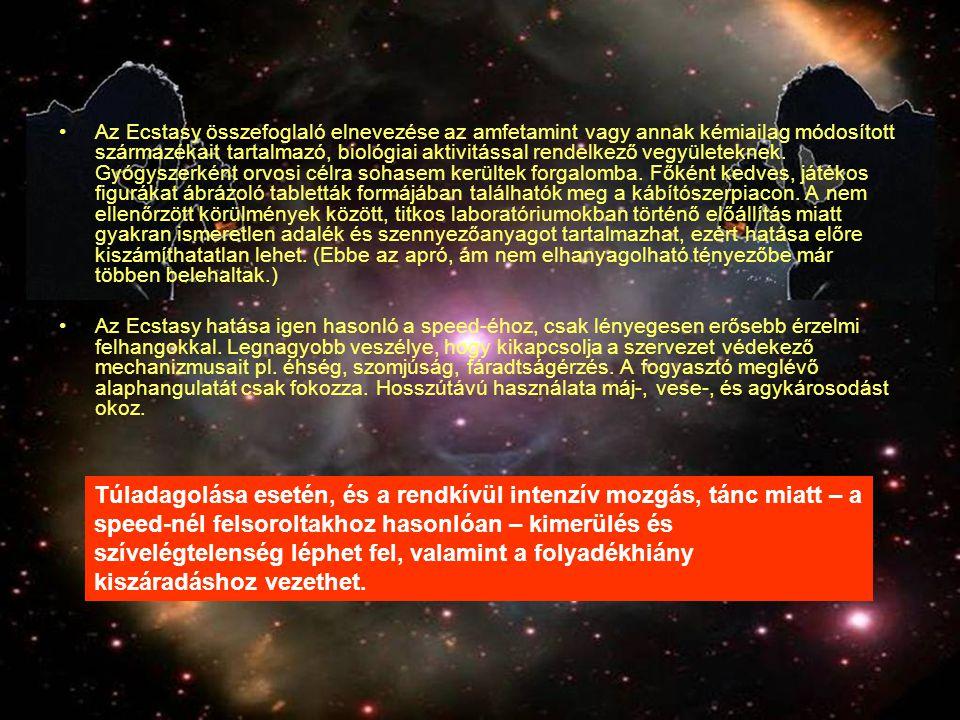 Az Ecstasy összefoglaló elnevezése az amfetamint vagy annak kémiailag módosított származékait tartalmazó, biológiai aktivitással rendelkező vegyületek