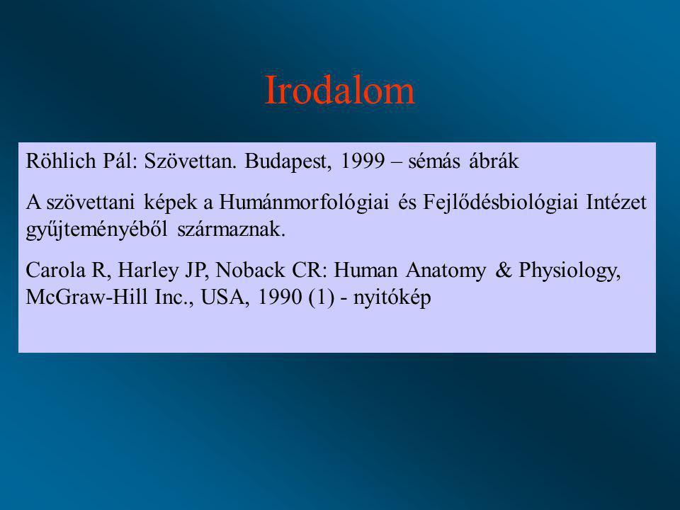 Irodalom Röhlich Pál: Szövettan. Budapest, 1999 – sémás ábrák A szövettani képek a Humánmorfológiai és Fejlődésbiológiai Intézet gyűjteményéből szárma