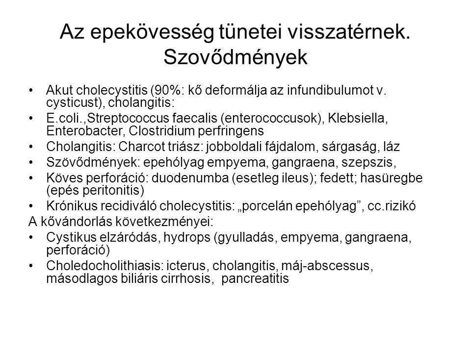 Az epekövesség tünetei visszatérnek. Szovődmények Akut cholecystitis (90%: kő deformálja az infundibulumot v. cysticust), cholangitis: E.coli.,Strepto