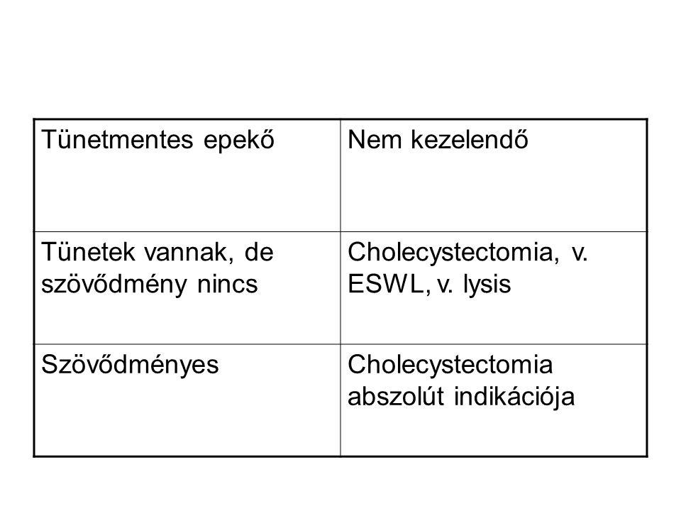 Tünetmentes epekőNem kezelendő Tünetek vannak, de szövődmény nincs Cholecystectomia, v. ESWL, v. lysis SzövődményesCholecystectomia abszolút indikáció