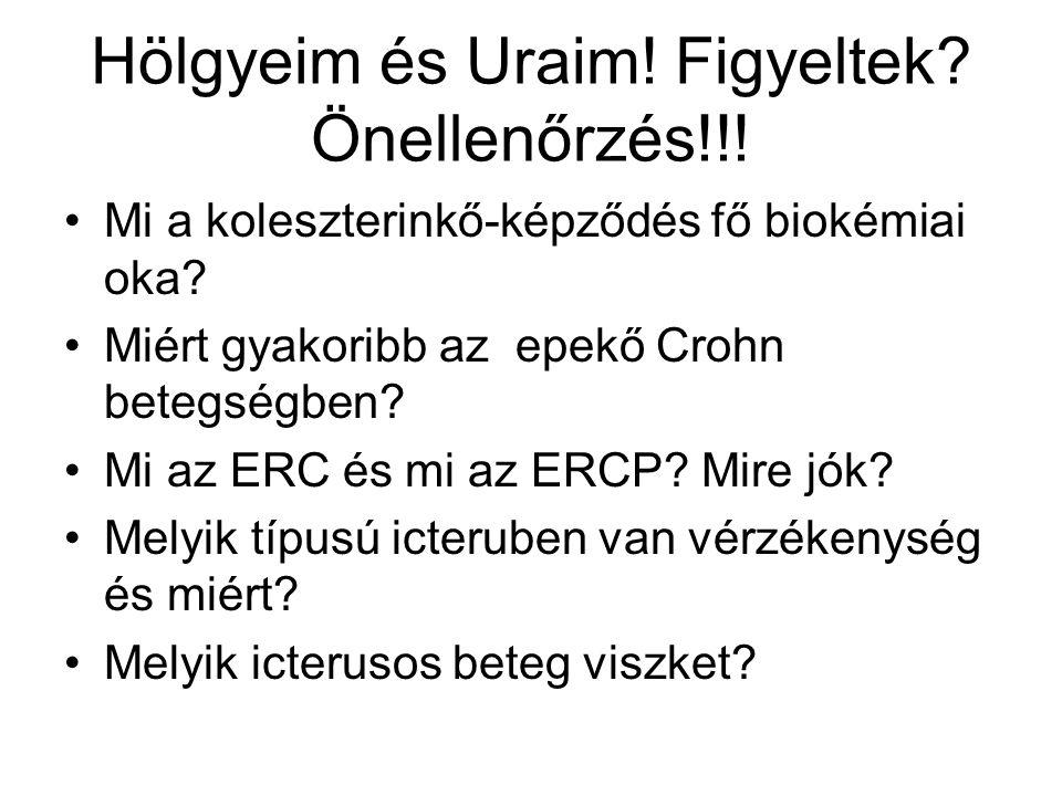 Hölgyeim és Uraim! Figyeltek? Önellenőrzés!!! Mi a koleszterinkő-képződés fő biokémiai oka? Miért gyakoribb az epekő Crohn betegségben? Mi az ERC és m