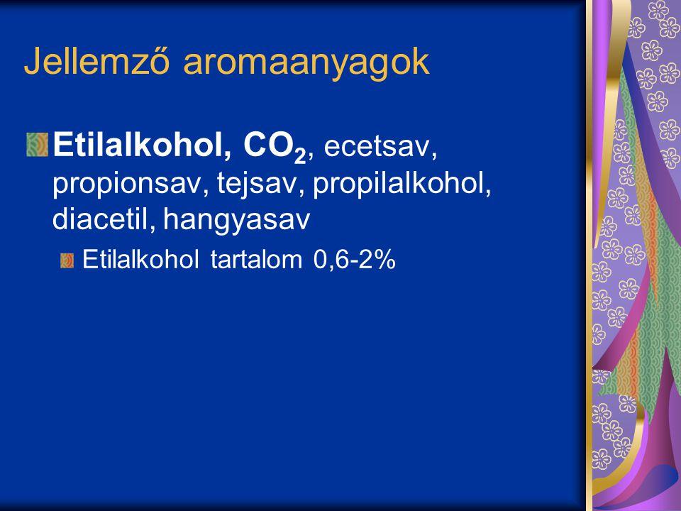 Jellemző aromaanyagok Etilalkohol, CO 2, ecetsav, propionsav, tejsav, propilalkohol, diacetil, hangyasav Etilalkohol tartalom 0,6-2%