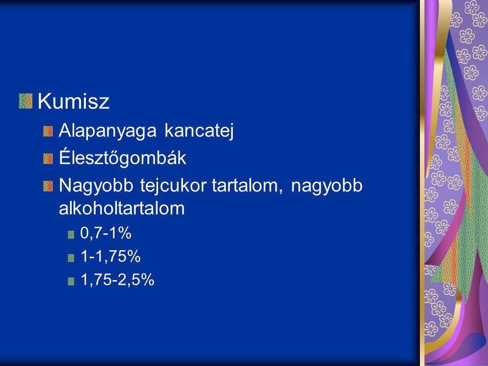 Kumisz Alapanyaga kancatej Élesztőgombák Nagyobb tejcukor tartalom, nagyobb alkoholtartalom 0,7-1% 1-1,75% 1,75-2,5%