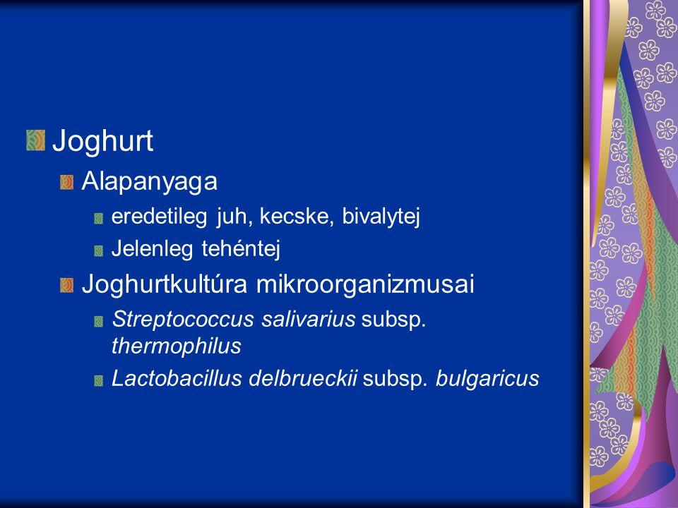 Joghurt Alapanyaga eredetileg juh, kecske, bivalytej Jelenleg tehéntej Joghurtkultúra mikroorganizmusai Streptococcus salivarius subsp. thermophilus L