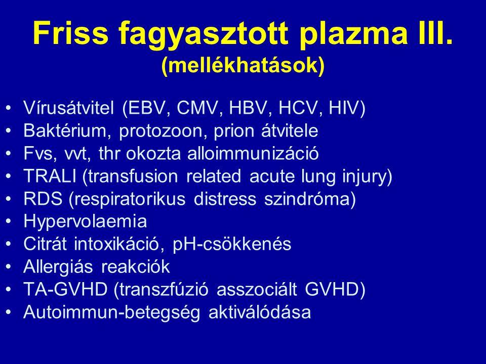 Friss fagyasztott plazma III. (mellékhatások) Vírusátvitel (EBV, CMV, HBV, HCV, HIV) Baktérium, protozoon, prion átvitele Fvs, vvt, thr okozta alloimm