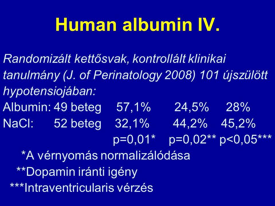 Human albumin IV. Randomizált kettősvak, kontrollált klinikai tanulmány (J. of Perinatology 2008) 101 újszülött hypotensiojában: Albumin: 49 beteg 57,