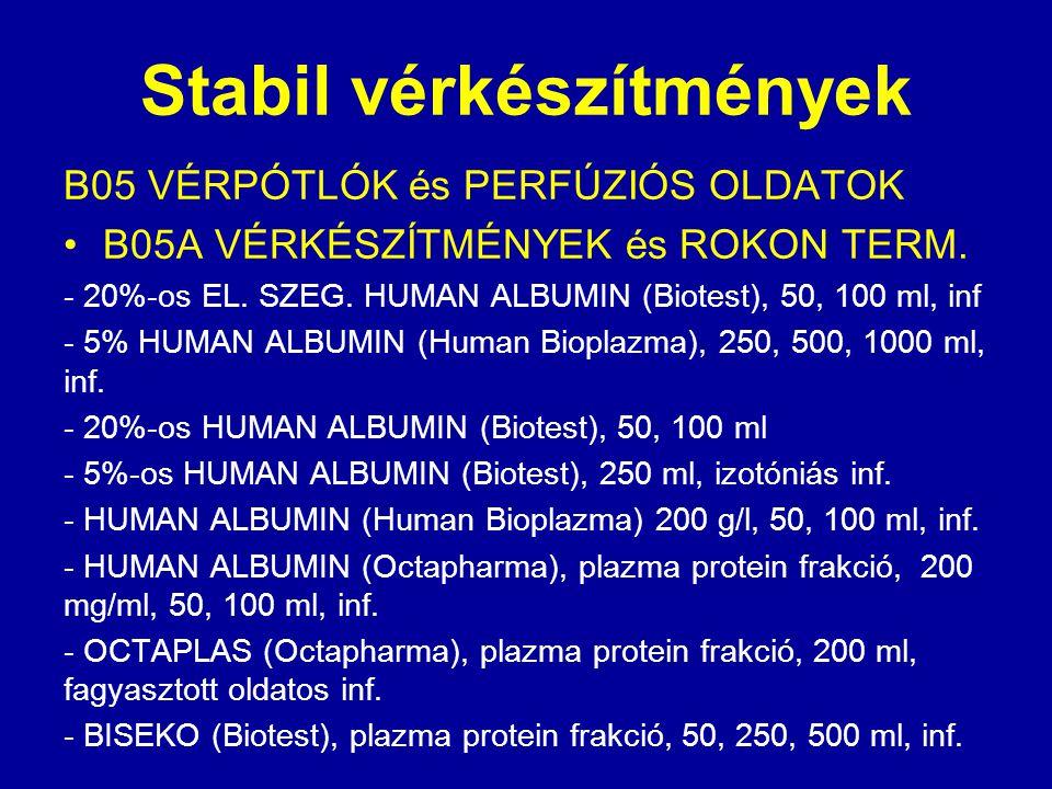 Stabil vérkészítmények B05 VÉRPÓTLÓK és PERFÚZIÓS OLDATOK B05A VÉRKÉSZÍTMÉNYEK és ROKON TERM. - 20%-os EL. SZEG. HUMAN ALBUMIN (Biotest), 50, 100 ml,