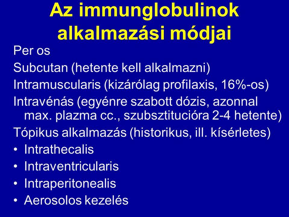 Az immunglobulinok alkalmazási módjai Per os Subcutan (hetente kell alkalmazni) Intramuscularis (kizárólag profilaxis, 16%-os) Intravénás (egyénre sza