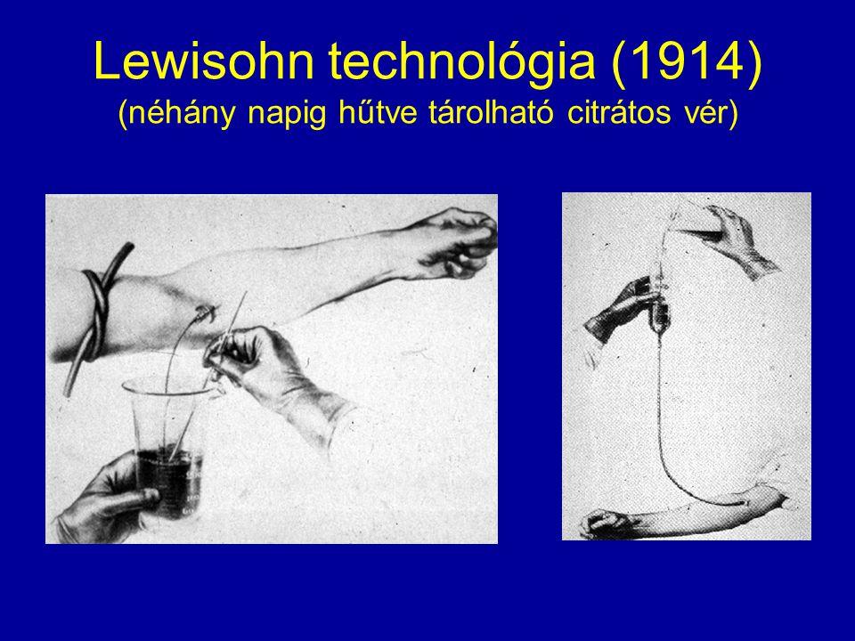 Lewisohn technológia (1914) (néhány napig hűtve tárolható citrátos vér)