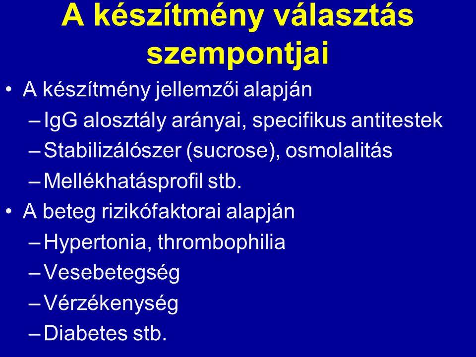 A készítmény választás szempontjai A készítmény jellemzői alapján –IgG alosztály arányai, specifikus antitestek –Stabilizálószer (sucrose), osmolalitá