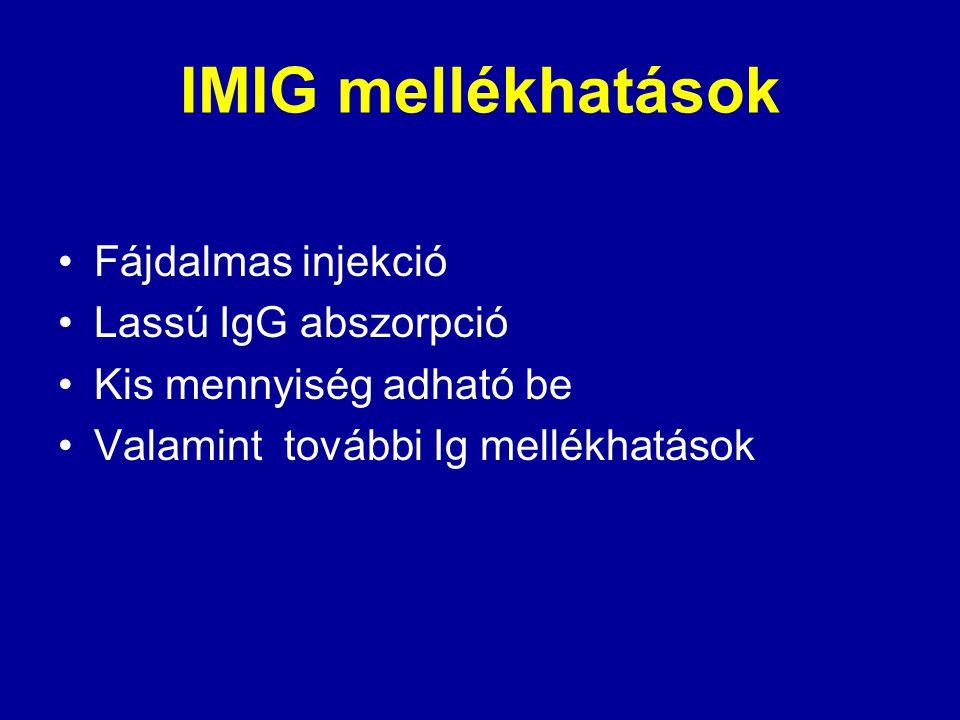 IMIG mellékhatások Fájdalmas injekció Lassú IgG abszorpció Kis mennyiség adható be Valamint további Ig mellékhatások