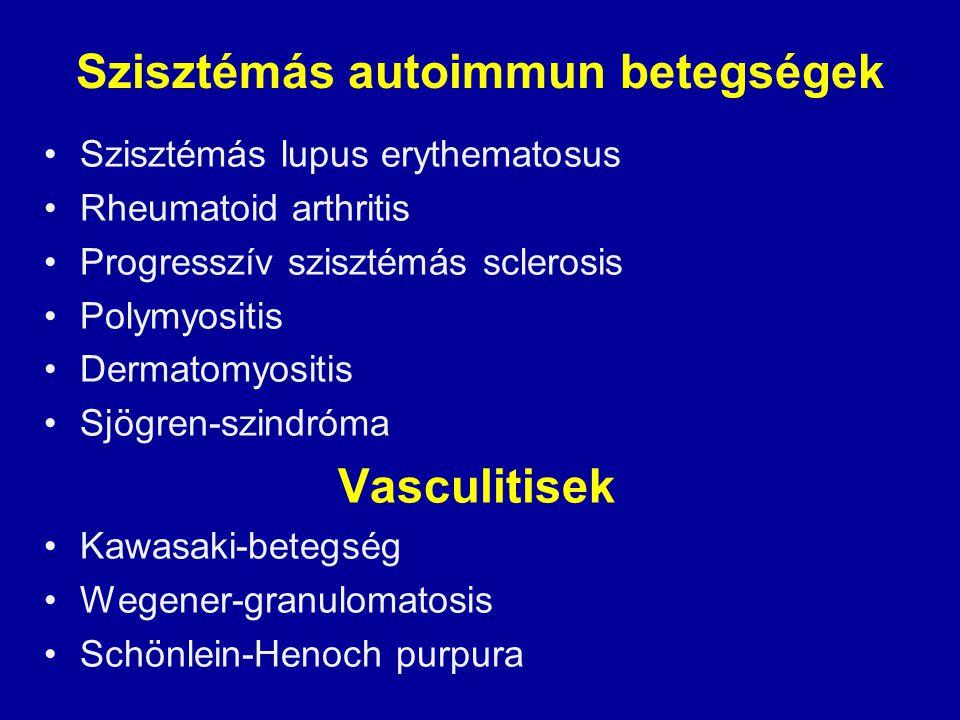 Szisztémás autoimmun betegségek Szisztémás lupus erythematosus Rheumatoid arthritis Progresszív szisztémás sclerosis Polymyositis Dermatomyositis Sjög