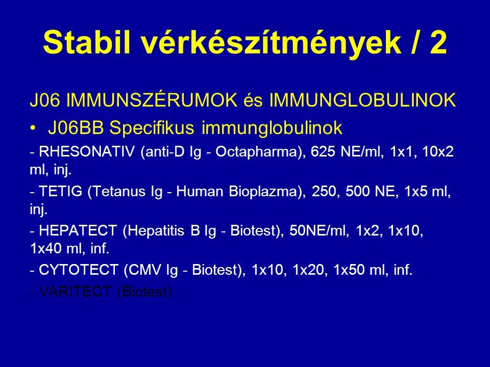 Stabil vérkészítmények / 2 J06 IMMUNSZÉRUMOK és IMMUNGLOBULINOK J06BB Specifikus immunglobulinok - RHESONATIV (anti-D Ig - Octapharma), 625 NE/ml, 1x1