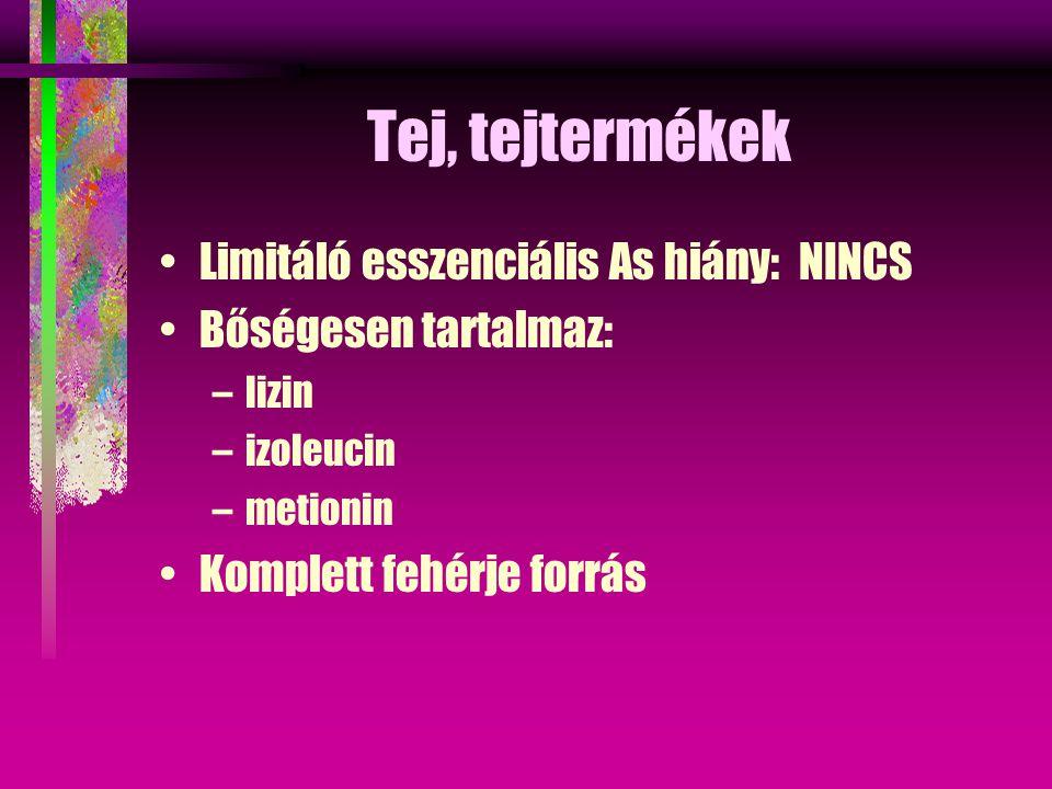 Tej, tejtermékek Limitáló esszenciális As hiány: NINCS Bőségesen tartalmaz: –lizin –izoleucin –metionin Komplett fehérje forrás
