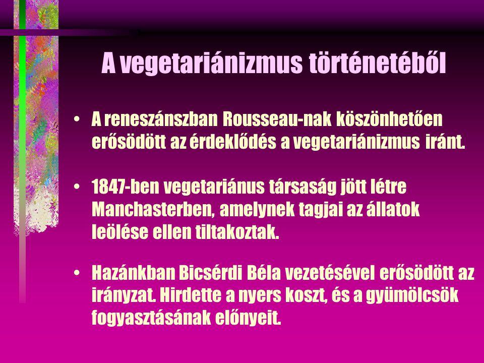 A vegetariánizmus történetéből A reneszánszban Rousseau-nak köszönhetően erősödött az érdeklődés a vegetariánizmus iránt.