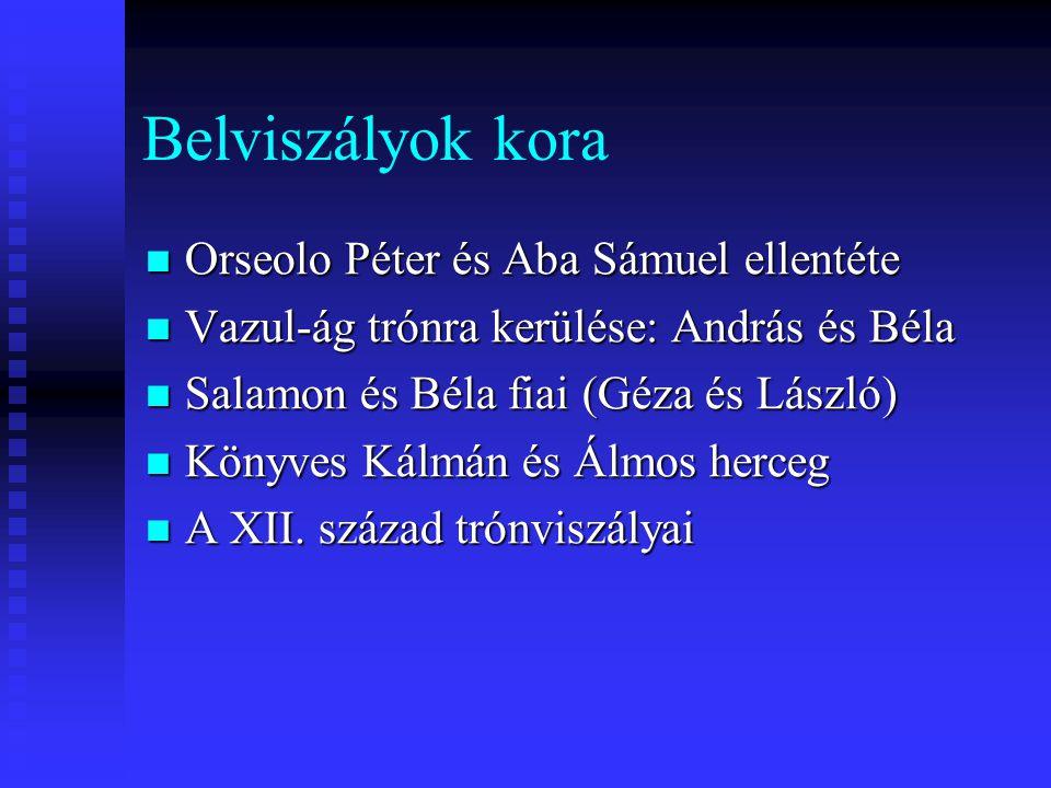 Belviszályok kora Orseolo Péter és Aba Sámuel ellentéte Orseolo Péter és Aba Sámuel ellentéte Vazul-ág trónra kerülése: András és Béla Vazul-ág trónra