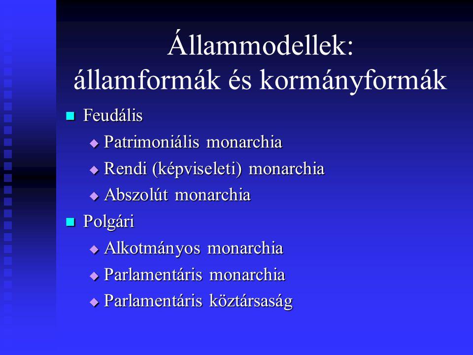 Állammodellek: államformák és kormányformák Feudális Feudális  Patrimoniális monarchia  Rendi (képviseleti) monarchia  Abszolút monarchia Polgári P