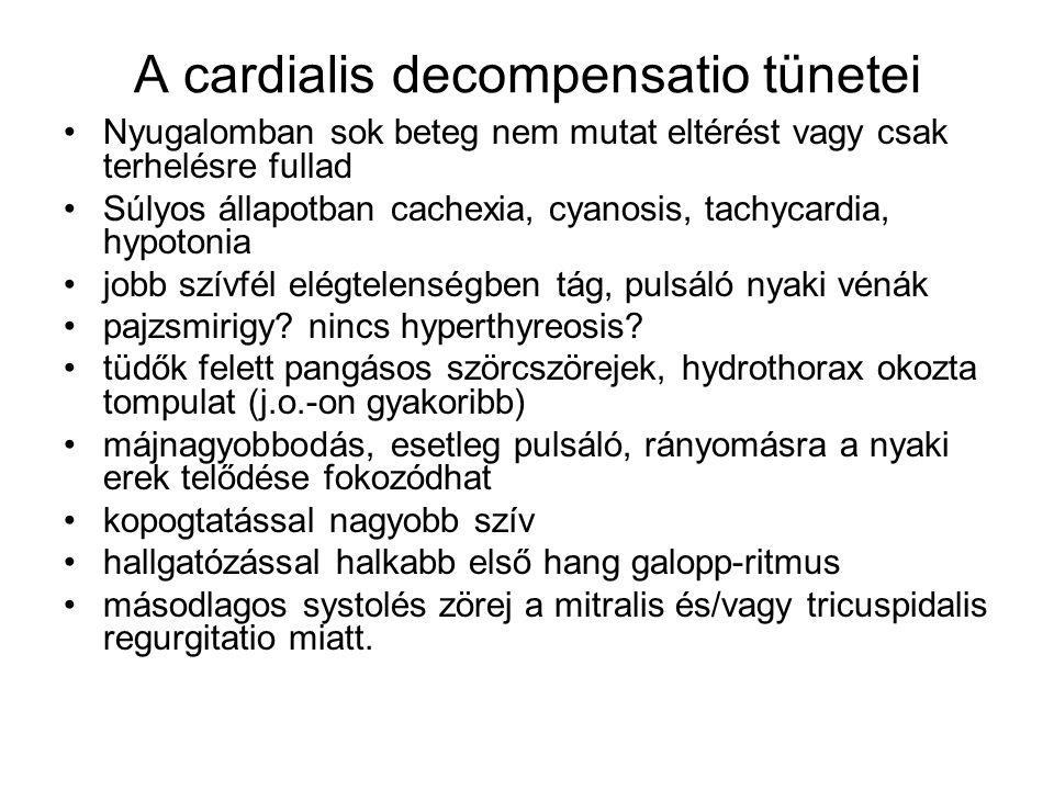 A cardialis decompensatio tünetei Nyugalomban sok beteg nem mutat eltérést vagy csak terhelésre fullad Súlyos állapotban cachexia, cyanosis, tachycard