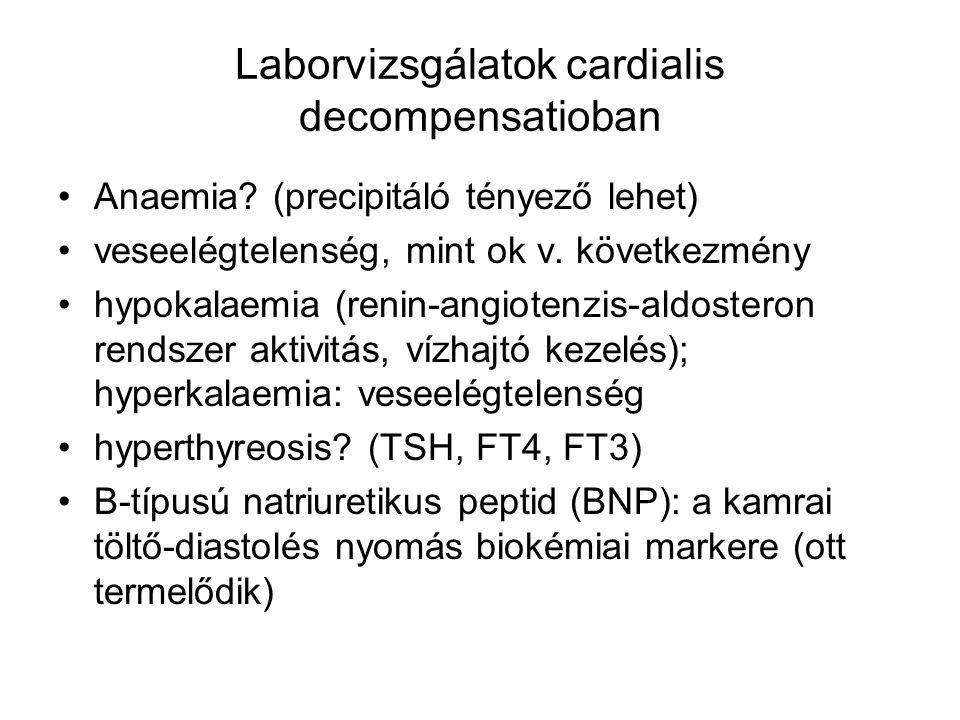 Laborvizsgálatok cardialis decompensatioban Anaemia? (precipitáló tényező lehet) veseelégtelenség, mint ok v. következmény hypokalaemia (renin-angiote