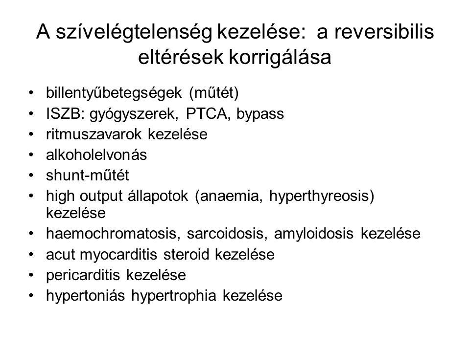 A szívelégtelenség kezelése: a reversibilis eltérések korrigálása billentyűbetegségek (műtét) ISZB: gyógyszerek, PTCA, bypass ritmuszavarok kezelése a